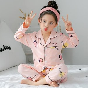 Spring and autumn children's long sleeved pajamas suit for kids 100%cottonSilk girls boys household clothes children pajamas Designer22