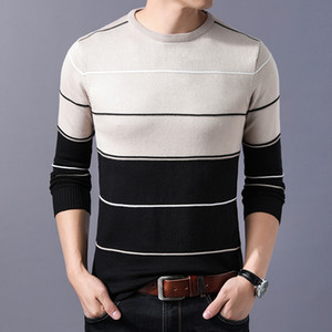 2020 Casual Men's Sweater Striped Slim Fit Knittwear Autumn Winter Mens Sweaters Pullovers Pullover Men