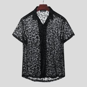 الأزياء شبكة قمصان قصيرة الأكمام طية صدر السترة Camisa رجل وقت فراغ طبع نمر Blusas الشرير انظر من خلال بلوزة الشارع الشهير 5XL