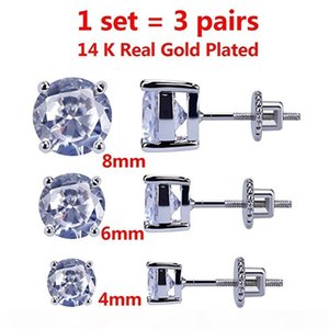 I 3 Pairs Set 4 -8 Mm 14k Gold Plated Cz Square Iced Out Stud Earrings With Safety Screw Back For Men And Women