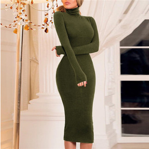 Women Dresses Sexy Skinny Hip Package Dresses Fashion Stand Collar Long Sleeve Mid Calf Dresses Womens Designer Clothes