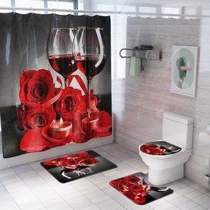 New Rose Red Quatro peças chuveiro Wine impresso cortina de chuveiro tapete cortina de partição set set banheiro mat quatro peças