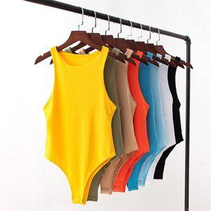 Casual Sólidos roupa colorida 8 cores Botão Womens Macacões Verão Ativo mangas O-Neck Mulheres macacãozinho Ballet