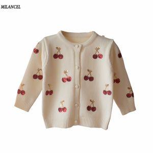 Milancel Kiraz Örme Bebek Kız Kazak Çocuklar Bahar Triko Çocuk Hırka Kız payetli Dış Giyim Giyim T200804