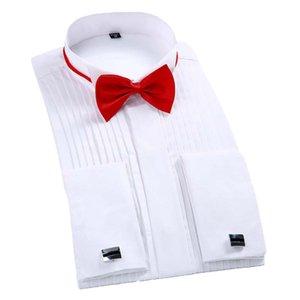 Camisa do smoking laço dos homens e abotoaduras homens flanela de algodão Swallow Collar Formal Dinner Party Shirt Men Branco