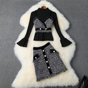 Ropa de mujer europea y americana 2020 Invierno Nuevo estilo de manga larga Suéter de punto Tweed Sling borlas falda trajes de moda