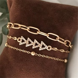 Simple Casual Fashion Gold Color Chain Bracelet Bohemian Bracelet Set For women Beads chains Bangle Boho Jewelry