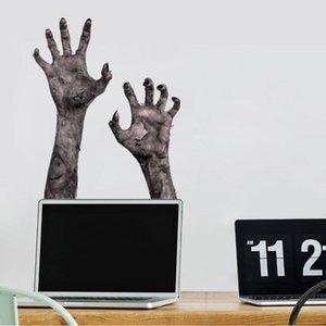 Дух Рука зомби Хэллоуин ПВХ стикер стены 3D Stereo Ужасное стекло окна Съемный водонепроницаемый Обои Home Decor Home Garden HA1015