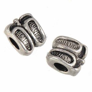 Jewelry Findings Charms Beads Bangles European Bracelets DIY Epoxy Slipper Double Large Hole Loose Vintage Silver Metal 11mm 100pcs