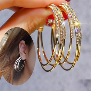 Yaratıcı Yuvarlak Küpe Çiviler Tam Elmas Tasarımcı Küpe Çiviler Rhinestone Kadınlar Charm Küpe S925 Gümüş İğne Küpe