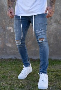 Casual Pencil Pants Homme Fashion Pants Mens Hole Slim Fit Jeans Designer Skateboard Solid Color