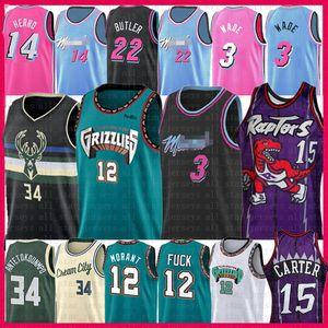 Ja 12 15 Morant Vince Carter Dwyane Wade 3 de basket-ball Jersey Giannis 34 Antetokounmpo Jimmy Butler 22 Tyler 14 Herro Chauffe Buck Grizzlie