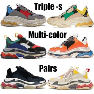 Pares triple-s Homens Mulheres Moda sapatos cinza azul vermelho preto branco multi-cor tênis de plataforma bege amarelo sapatos verdes casuais casamento partido