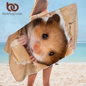BeddingOutlet Hamster Pug bagno asciugamano in microfibra di vetro Papery stampa Telo 3D Vivid Brown mouse Bagno Coperta Dropship CX200727