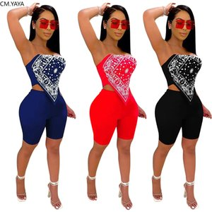 Women Sets Bandanna Print Bellyband Mini Crop Tops Knee Length Shorts Jogger Pants Suit Two Piece Set Sport Tracksuit Outfits
