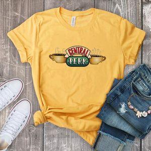 Funny Tee Shirt For Women Central Perk Print Female T-shirt Friends Tops Tees Round Neck Short Sleeve Tshirt Woman Shirts MX200721