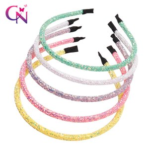 CN 10 Pcs Lots Hair Accessories Chunky Glitter Hairbands For Girls Women Summer Style Candy Color Headband Hair Hoop Hair Band Y200710
