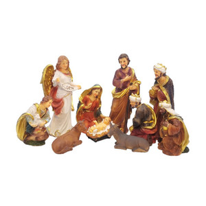 Zayton Statue Nativity Scene Baby Jesus Manger Christmas Crib Figurines Miniatures Ornament Church Xmas Gift Home Decoration T200710