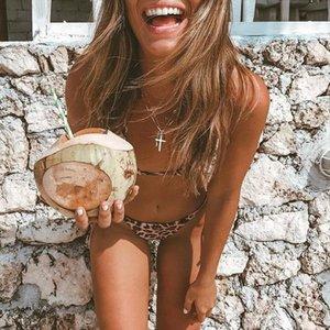 Melphieer Spandex Leopard Bikini Set Womens Tie String Swimwear Brazilian Swimsuit Sexy Bathing Suit Pads Biquini Beach Wear Monokini