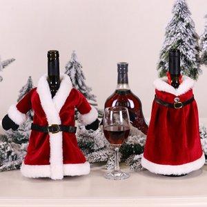 Christmas Dress Wine Bottle Set Creative Red Cotton Cloak Dress Wine Champagne Bottle Cover Xmas Santa Belt Decorative Bottle Case