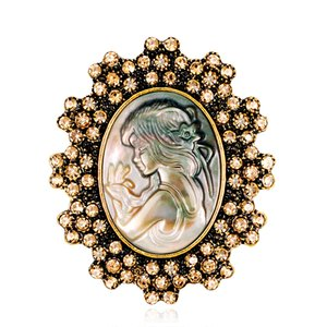 50pcs / lot fronteira envio Gilded Free Flower Prata Rhinestone naturais Abalone shell menina broche retrato em relevo jóias broche