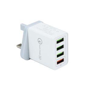 QC3.0 US EU UK 4 Port 3.1A veloce ricarica del telefono cellulare Fast Charger parete del caricatore USB Plug Adapter per iPhone Android