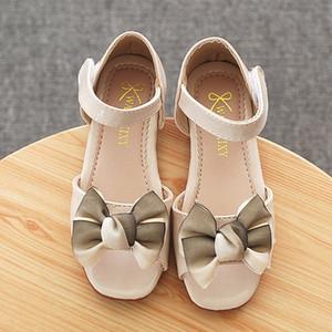 Princesse Chaussures enfants Fille d'été Sandales Bow Décoration Chaussures Mode Sweet Children Doux Bas Cristal 57yN #