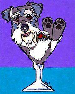 SCHNAUZER del arte del perro MARTINI pintura de VERN Decoración Artesanías / impresión de HD pintura al óleo sobre lienzo arte de la pared de la lona representa 200715