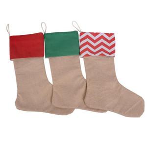 Рождественский чулок подарочные пакеты Xmas чулок Рождество Хлопок Длинные носки Холст мешочек Простые Burlap Декоративные носки сумки 30 * 45 DHC156