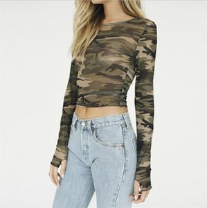 Autumn New Women T-shirt Long Sleeve Women Camouflage Tee Shirt O-neck Short Tops Casual T Shirt