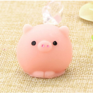 Pig Ball Squishy Slow Rising Kawaii Mini Mochi Bunny Phone Strap Squeeze Stretchy Pendant Bread Cake Kids Toy Gift