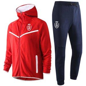 2020 costume formation Stade de Reims pantalon veste de soccer 20 21 Stade Reims capuche manches longues sport Survêtement de football fixe Survêtements hommes
