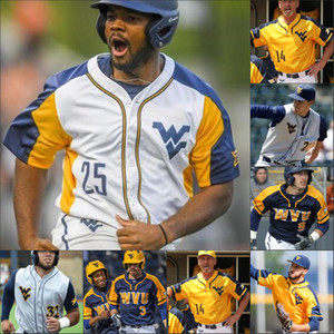 Custom West Virginia Mountaineers Baseball Stitched Jersey 5 Kade Strowd 47 Alek Manoah 25 Marques Inman 32 Ivan Gonzalez WVU Jerseys