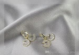 New European And American Style High Grade Beautiful Letter Earrings Selling Micro Inlaid Sparkling Zircon Small Fragrance Earrings