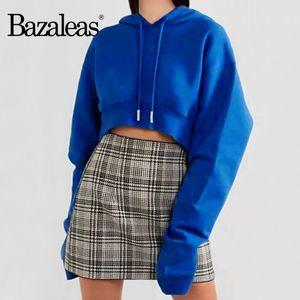 Bazaleas Blue crop top ropa mujer Punk Long Sleeve Cropped women hoodies with Hat Fashion sweatshirt