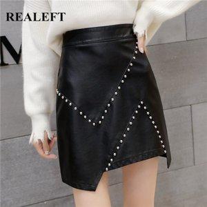 REALEFT New 2020 PU cuir A-ligne Jupes Automne Hiver Vintage Rivet Bureau Wrap Jupes taille haute sexy Mini Femme
