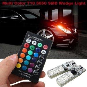 2x T10 W5W водонепроницаемый 501 автомобилей Клин Боковой Лампочка-6SMD RGB 7 цветный светодиодный пульт дистанционного управления (NO батареи) Strobe Вспышка Лампа