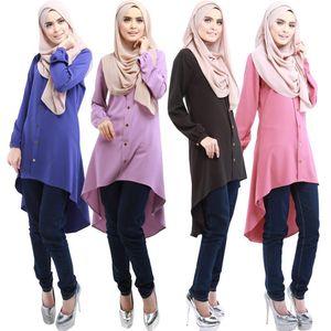WEPBEL Oriente Medio Turquía color sólido Plus botón Tamaño Ropa Blusas musulmanes suelta camisa de la blusa