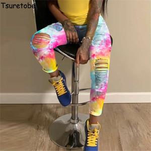 Tsuretobe рваные джинсы женские Tie Dye высокой талией джинсы Мода Одежда для женщин плюс размер Denim брюки карандаш для брюк