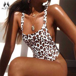 Sexy Leopard Backless Trikini Thong Bathing Suit Cut High Waisted Monokini Female Brazilian Swimwear Women One Piece Swimsuit