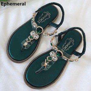Feminine Fascia elastica Sandali infradito Infradito Appartamenti strass scarpe Summer Open Toe cucire Nero Blu Formato più 40 4 Promozione