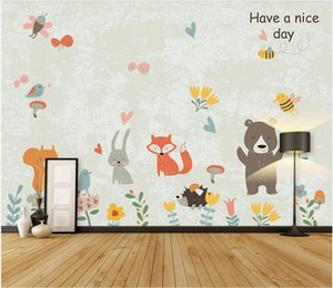 3d wallpaper stickers custom photo Nordic hand drawn jungle animal cartoon background wall 3d mural paper photo wallpaper 3d
