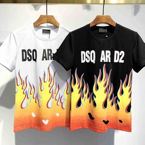 2020 Fashion Street Men and women alike Flame T-shirt Black and White Men's and women's Fashion Designer T-shirt short sleeves