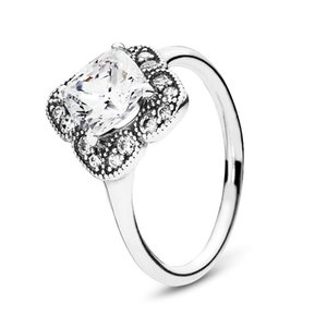 925 Sterling Silver Crystallised Floral Fancy Ring Luxury Designer Jewelry Women Clear Cubic Zirconia Stones Wedding Rings with Pandora Box