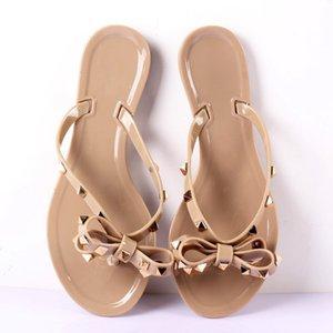 Hot 2019 Mulher Moda Flip Flops Verão calçados legal Praia Rebites grande arco sandálias marca geléia sandálias meninas tamanho 36-41