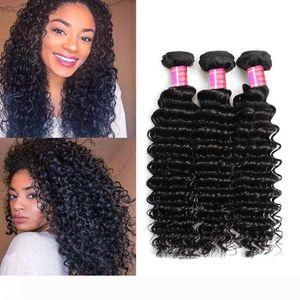 Deep Wave Brazilian Hair Weave Bundles Brazilian Deep Wave Human Hair Extension 1B Natural Black 100g Piece lot