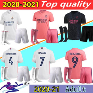 Maglie Calcio Real Madrid Soccer Jerseys 20 21 HAZARD MODRIC REINIE Camiseta 2020 2021 BENZEMA BALE ISCO Sports Maglie Quarta RODRYGO Maglia da calcio per Calze