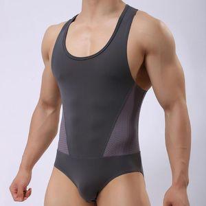 Brand Sexy Undershirt leotard Men bodysuit body stocking sexy jumpsuit wresting Undershirts shapes men club jumpsuit singlet