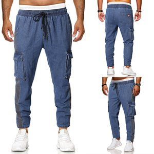 Spring and Fall Jeans Mens Loose Fitting patchwork Stretch Large pocket Straight Leg Casual Denim Trousers