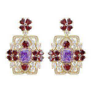 Colorful Diamond Gem Earring Romantic Love Gifts Blue Crystal Flower Square Dangle Wedding Fashion Jewelry Women Silver Earrings